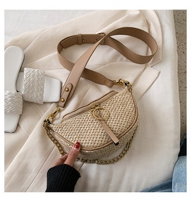 Fashion Casual Chains Straw Handbag Women Summer Rattan Bag Handmade Woven Beach Circle Bohemia Shoulder Bag Travel Purses Bolsa