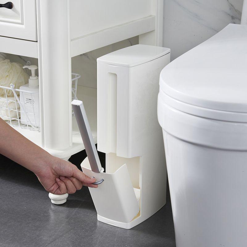 Juego de una sola pieza cepillo de limpieza de hendidura cepillo de baño basura puede establecer hendidura estrecha costura oculta con soporte latas de basura de los 77
