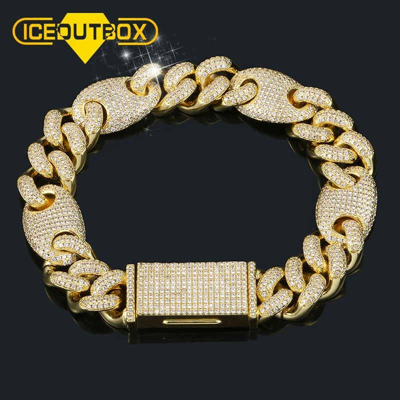 13mm Luxury Iced Out Crystal Miami Cuban Link Bracelet Gold Silver Rose Gold Men's Hip Hop Bracelet AAA CZ Cuban Chain Bracelet
