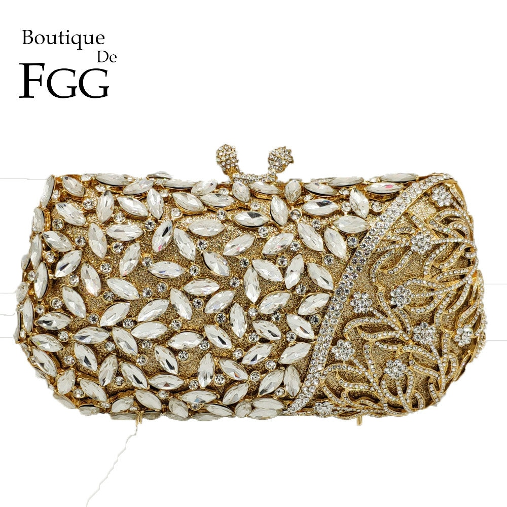 Boutique De FGG-حقيبة سهرة نسائية من الكريستال ، حقيبة يد معدنية مجوفة ، أنيقة ، لحفلات الزفاف