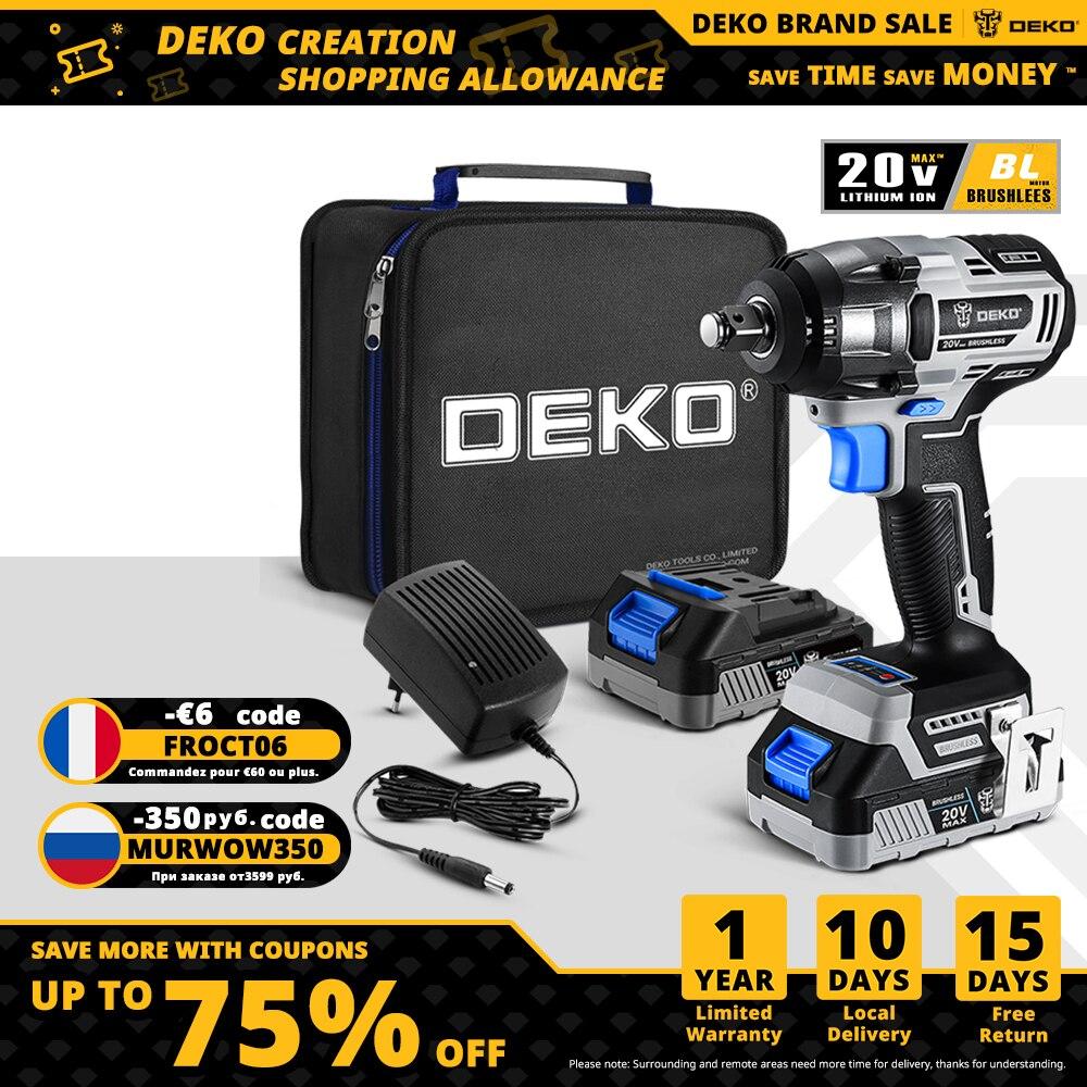 DEKO أدوات كهربائية 20 فولت ماكس اللاسلكي فرش وجع 350N.m عزم دوران عالية مفتاح برغي كهربائي (DKBW20XL01)
