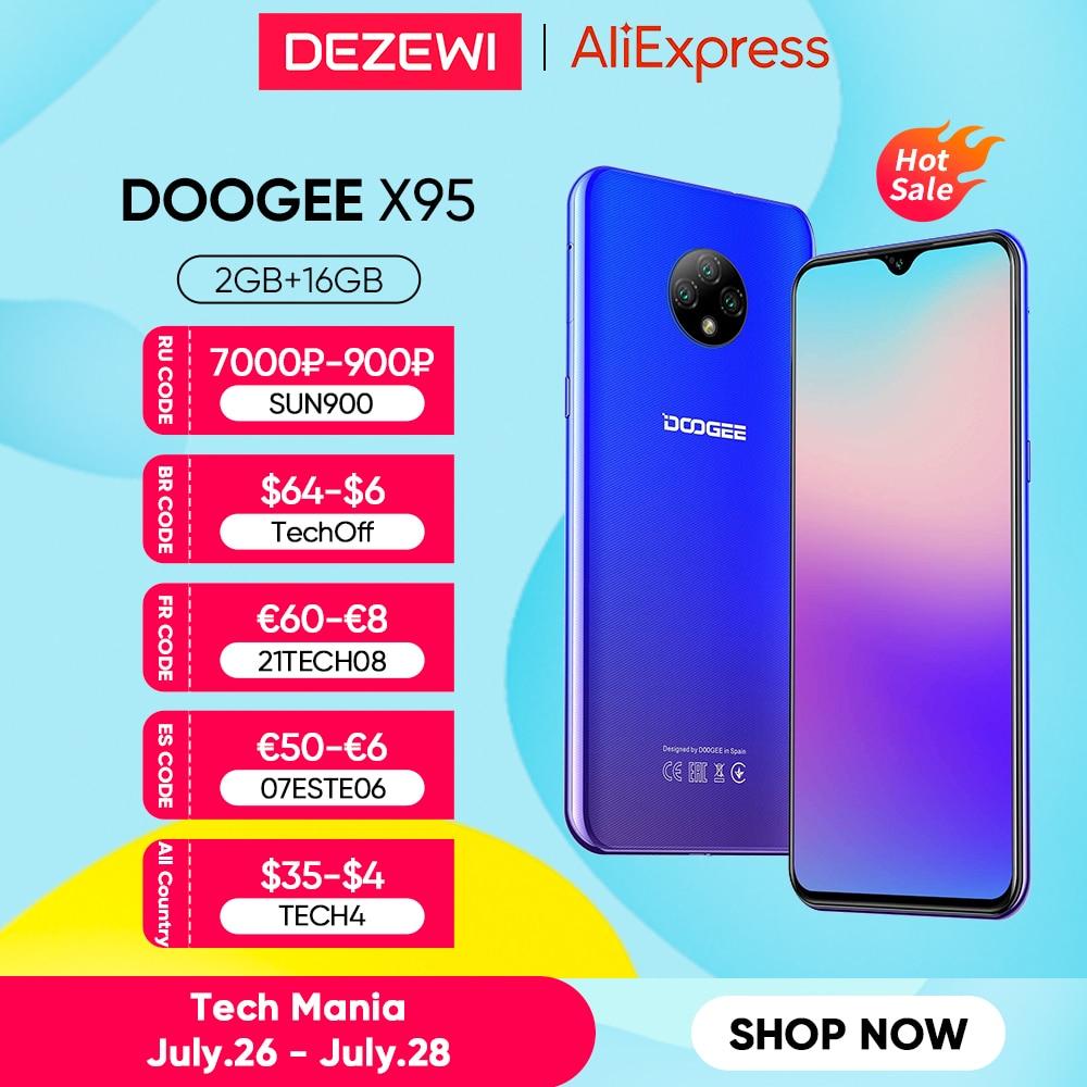 هاتف DOOGEE X95 الذكي, هاتف ذكي 6.52 بوصة MTK6737 16GB ROM ، ثنائي الشريحة ، كاميرا ثلاثية 13 ميجابكسل ، بطارية 4350 مللي أمبير ، هاتف أندرويد 10 ، 4G-LTE