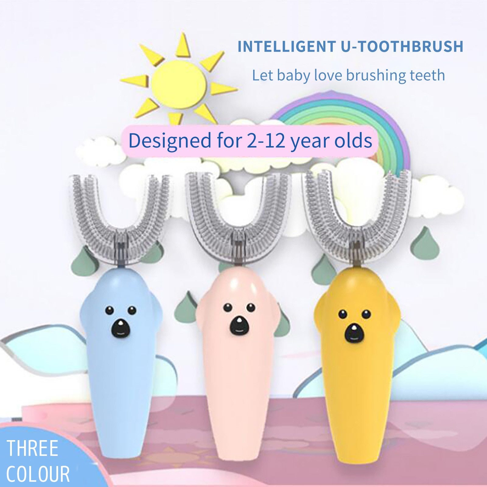 Battery Smart Electric U-type Children's Electric Toothbrush Sikat Gigi Elektrik Ultrasonik Pengisian Berus Gigi Berbentuk Anima