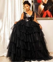 african new fashion black evening dresses a line v neck tiered tulle sequins formal dress prom gowns celebrity robe de soiree