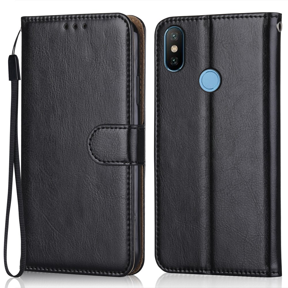 Luxury Leather Case for On Xiaomi Redmi 6 Pro Wallet Stand Flip Case Phone Bag with Strap
