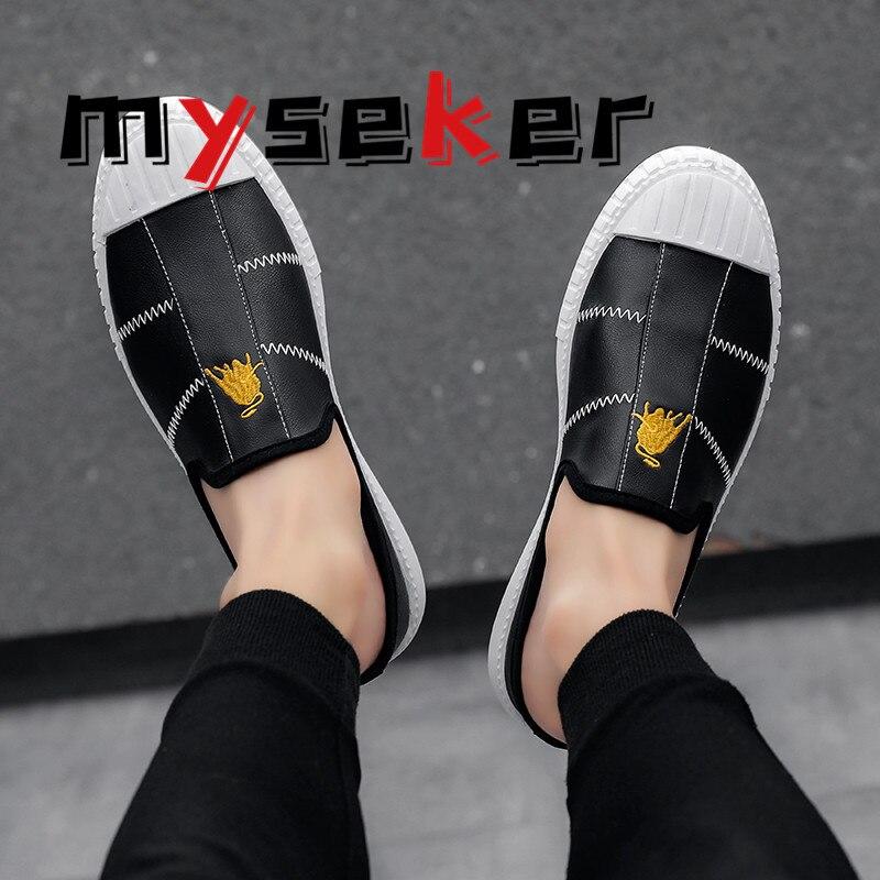 اليابانية موضة أحذية كسول عادية أبيض وأسود أحذية رياضية المتسكعون الرجال تنفس لينة وحيد حذاء كاجوال شحن مجاني Y6
