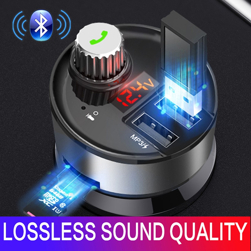 JINSERTA 2020 Car MP3 Player Handsfree Bluetooth 5.0 FM transmitter QC3.0 Dual USB Car Charger U disk /TF Lossless Music Player