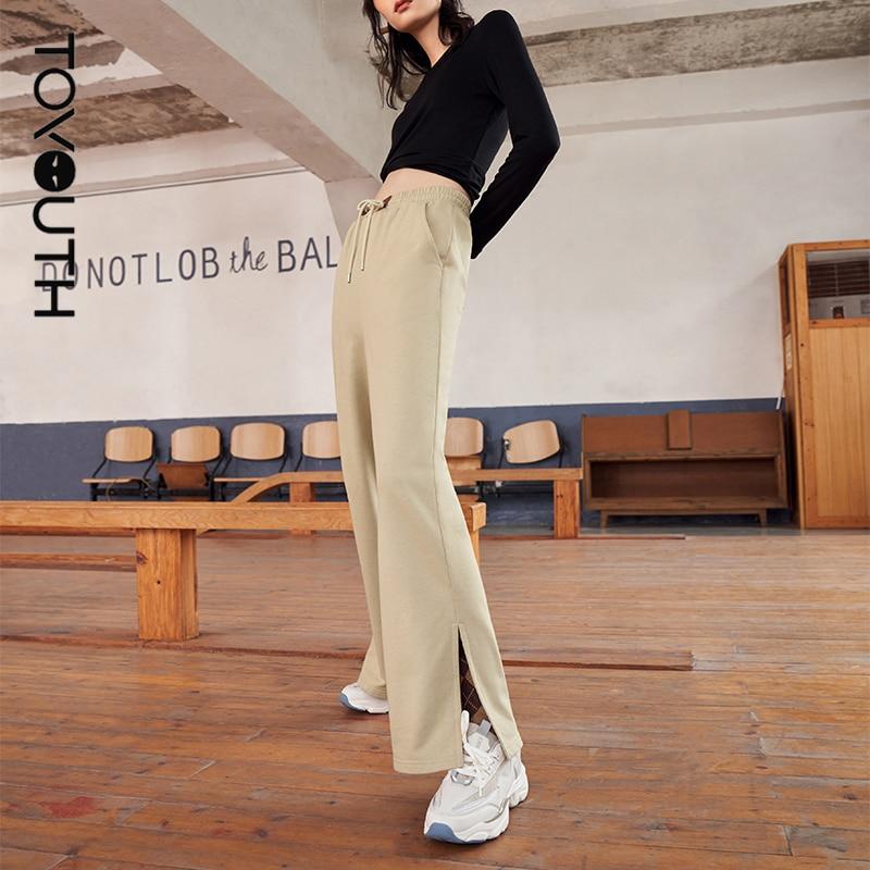 Toyouth النساء Sweatpants 2021 الخريف ضمادة مرونة الخصر السراويل الصلبة واسعة الساق شق عادية كل مباراة السراويل الرياضية