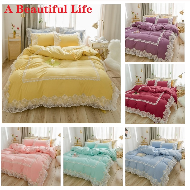 Amarillo rosa púrpura azul princesa niña juego de cama blanco borde de encaje lavado de algodón funda de edredón ropa de cama sábana bajera fundas de almohada