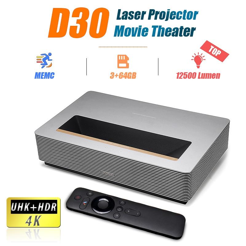 D30 projetor a laser tv 4k 12500 lúmen hd wemax appotronics android uhd 400nit hdr10 alpd3.0 fengmios wifi bluetooth cinema memc