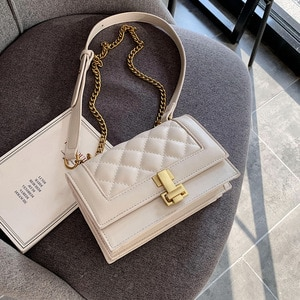 Retro Fashion Female Big Tote bag 2020 New Quality PU Leather Women's Handbag Lattice Lock Chain Shoulder Messenger Bags
