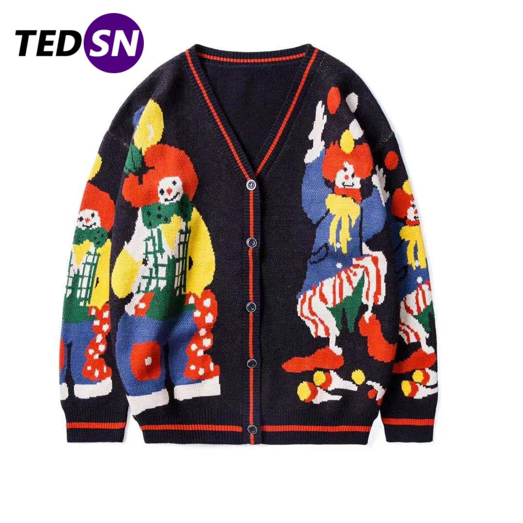 TEDSN 2021 مضحك مهرج طباعة سترة مشغولة من الصوف سترة الشارع الشهير الرجال النساء المعتاد الهيب هوب القطن Harajuku معطف Unsiex متماسكة