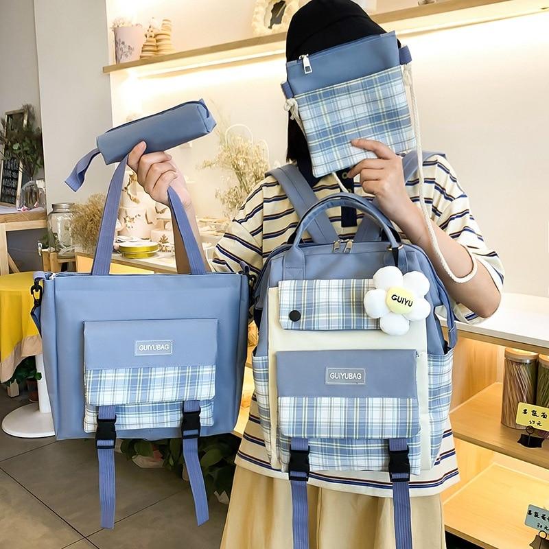 Набор из 4 шт. женских рюкзаков в клетку, милые школьные ранцы для девочек, сумки для книг, сумки для покупок, чехол для книг и карандашей