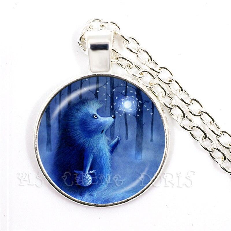 Glassic erizo en la niebla Collar de plata plateado 25mm cabujón domo de vidrio COLLAR COLGANTE de Animal joyería de regalo para amigos