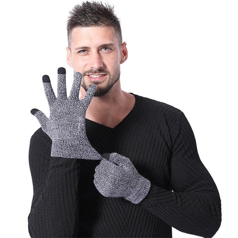 Мужские зимние вязаные перчатки для сенсорного экрана, мужские плюшевые теплые плотные перчатки, мужские уличные рабочие перчатки высоког...