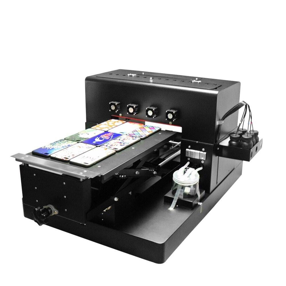 A3 tamaño LED UV impresora de inyección de tinta de cama plana 6 colores para Metal/caja de plástico/camisetas/teléfono caso y pluma, etc. Con lámpara UV seco
