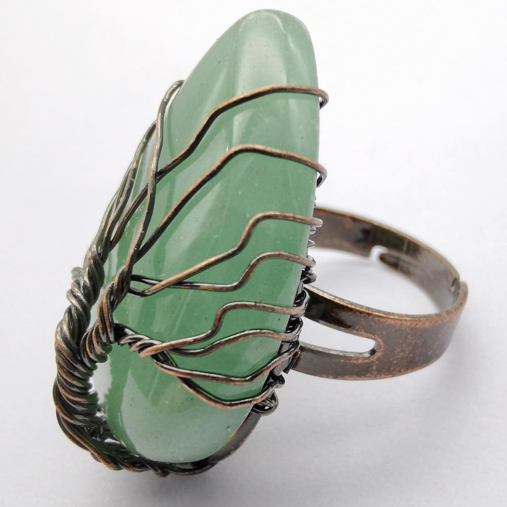 Árvore da vida artesanal verde aventurine pedra gem bronze fio de cobre envoltório dedo anel jóias tamanho 8-9x211