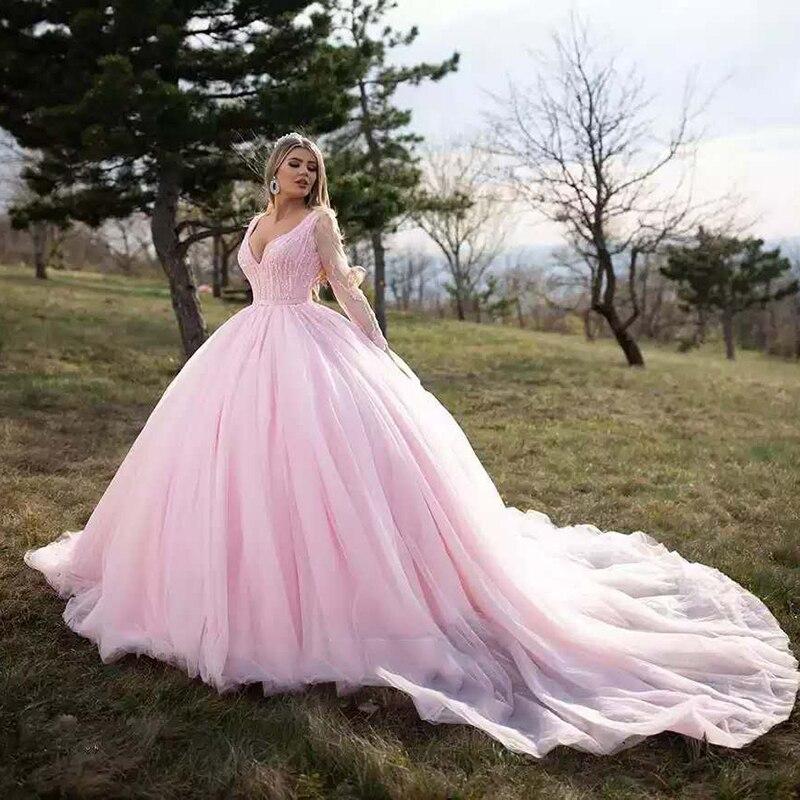 J67172-فستان سهرة طويل باللون الوردي ، فستان سهرة بأكمام طويلة ، ياقة على شكل V ، ترتر ، حزام ، أربطة في الخلف ، وردي