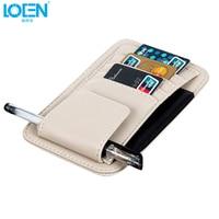 LOEN 1* Sun Visor Multifunction PU Car Card Package Holder Glasses Storage Pen Organizer Car Hanging Bag Auto Accessories Pocket