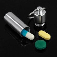 Porte-clés en aluminium imperméable à leau en forme de pilule boîte porte-bouteille conteneur porte-clés médecine porte-clés porte-clés boîte vente chaude