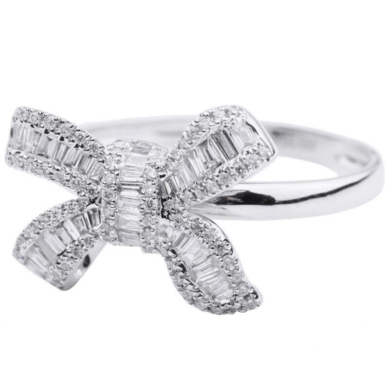 Zirconia cúbica banda de anillo de Bowtie con incrustaciones de cristal blanco joyería de mujer delicada E15E