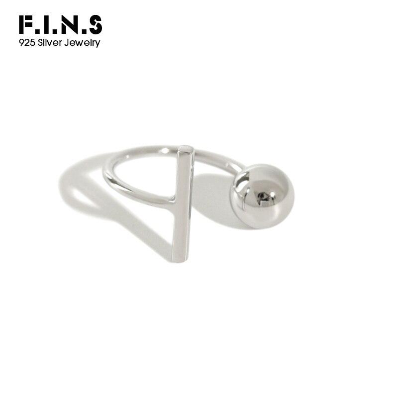 F.i.n.s coreano moda prata 925 bola vara aberto ajustável dedo anel 925 prata esterlina mulher anel custume jóias anéis