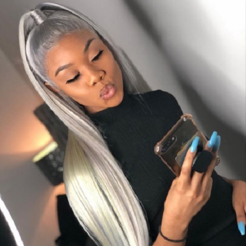 Grey Long Straight Wig 13x4 Lace Front Human Hair with Baby Hair Lace Front Wig for Women 180 Density