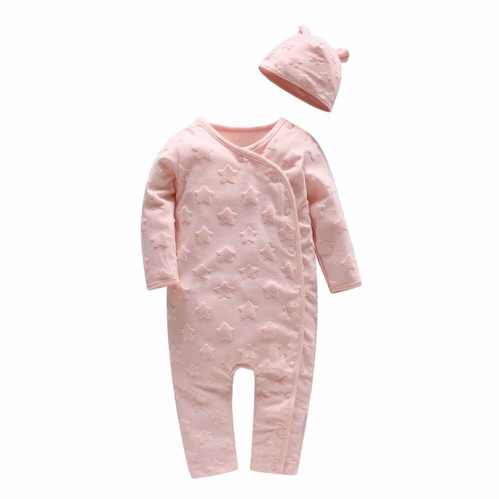 Pittoresque enfance Beau aime étoile impression bébé fille à manches longues barboteuse haut de gamme velours stéréo étoile avec bébé chapeau rose