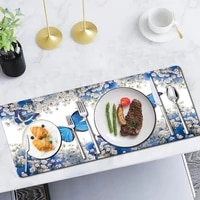 kitchen placemat coaster pu leather butterfly pattern wine coaster heat resistant and waterproof table mat kitchen accessories