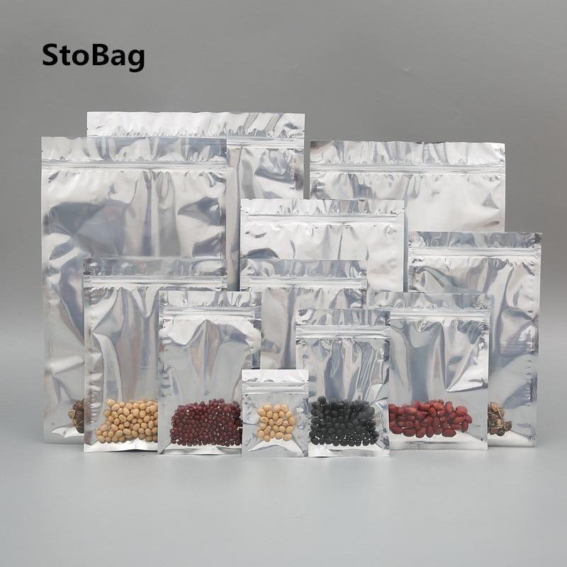 StoBag 50pcs Aluminized Foil Flat Bottom Ziplock Bags Tea Food Packaging Translucent Sealed Bags Flat Pocket Resealable Baking