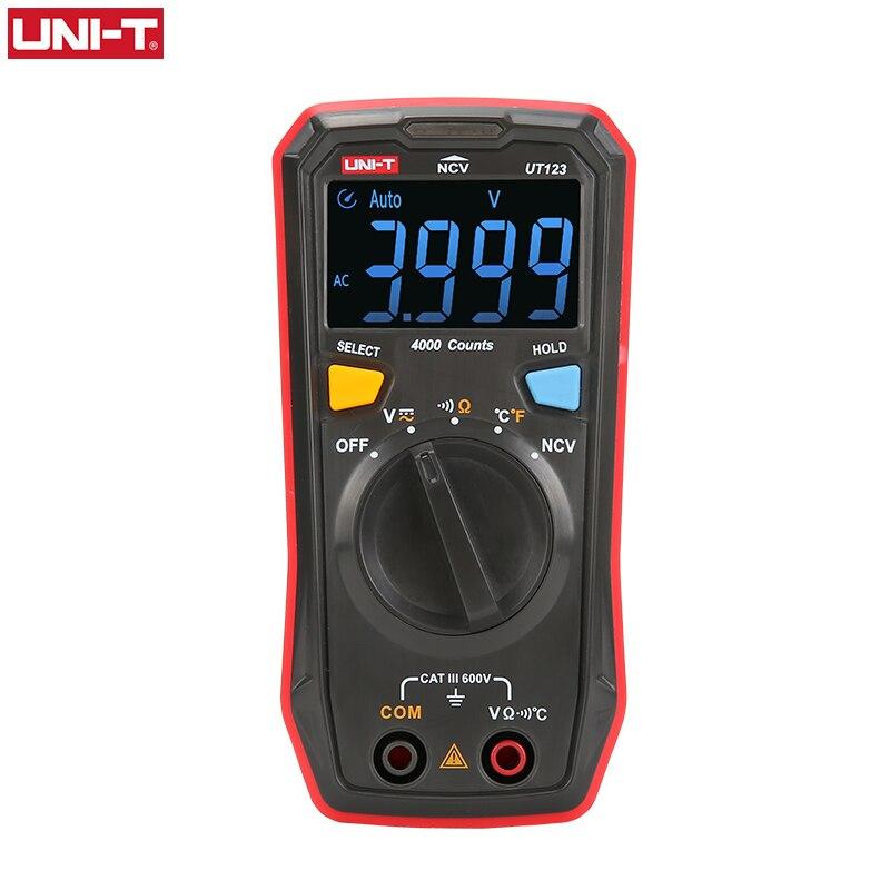UNI-T ut123 faixa automática mini multímetro digital temperatura testador de dados segure ac dc voltímetro bolso tensão ampere ohm medidor