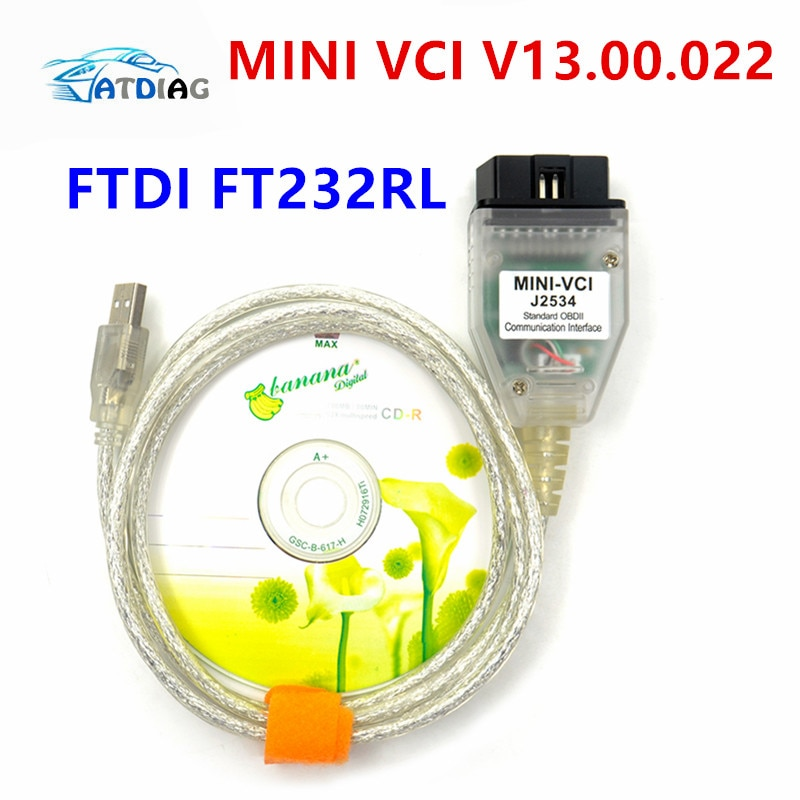 Cable de diagnóstico nuevo MINI VCI V13.00.022 interfaz para TO-YOTA TIS Techstream MINI-VCI FT232RL Chip J2534 OBD2