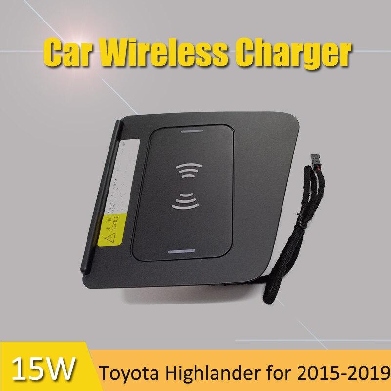 15W Car QI cargador de batería inalámbrico para Toyota Highlander 2015 2016 2017 2018 2019 teléfono móvil accesorios de placa de carga rápida