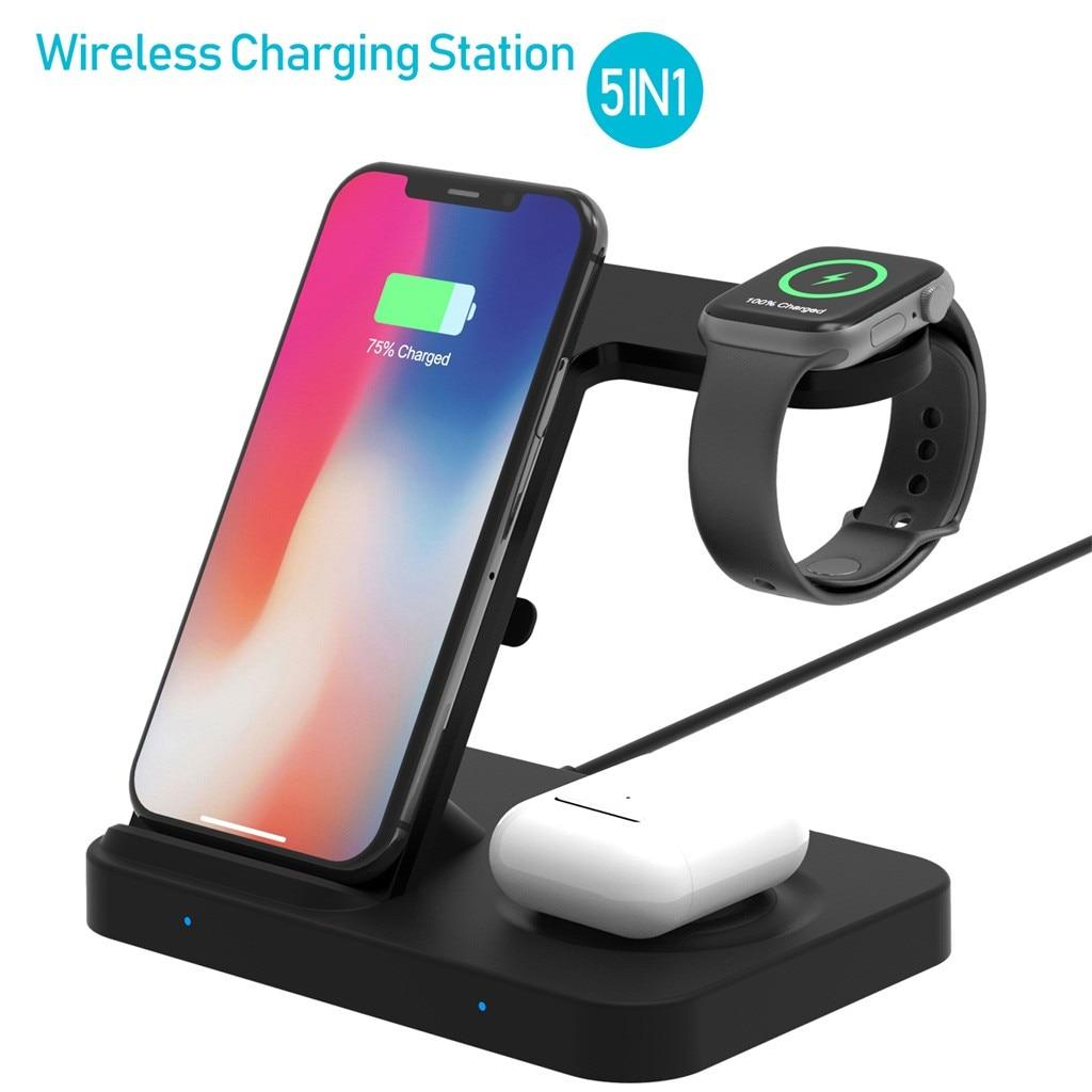 Estación de carga inalámbrica 5 en 1 para Samsung Galaxy Watch Gear S3, base de carga rápida Qi para Apple Watch AirPods Pro iPhone 11