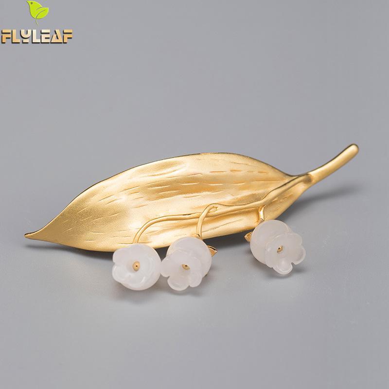 Flyleaf Hochwertige Natürliche Weiße Jade Blume Gold Blatt Echt 925 Sterling Silber Edlen Schmuck Broschen Für Frauen Gold Luxus