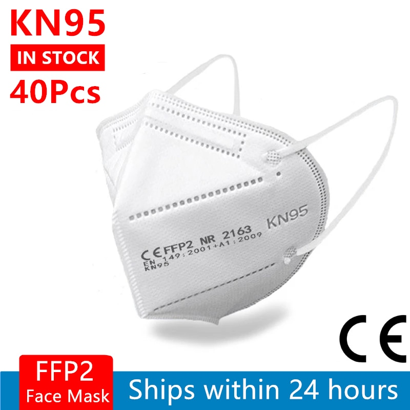 40 Pieces FFP2 Face Mask CE KN95 Mouth Mask 5 Layers Filter Protective Health Care Breathable 95% Ma