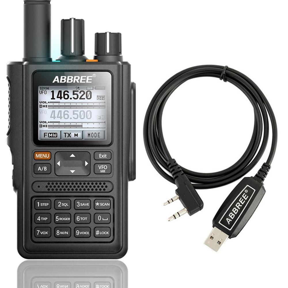 ABBREE-Walkie-talkie AR-F8 con pantalla LCD, transmisor con cable de programación USB, GPS,...