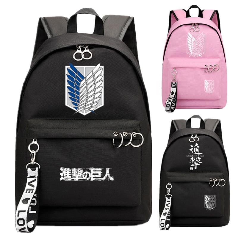 Attack on Titan Backpack School Book Bags girl group Mochila Travel Bag Laptop Ribbon Ring Circle Backpack Pink Black