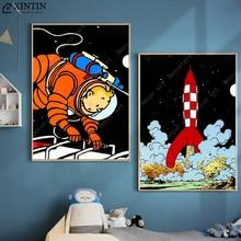 As Aventuras de Tintin Espaço Mars Tênis Para Caminhada Tibet Comics Pintura Da Lona Do Vintage Kraft Cartaz Revestido Adesivo Parede Home Decor Presente