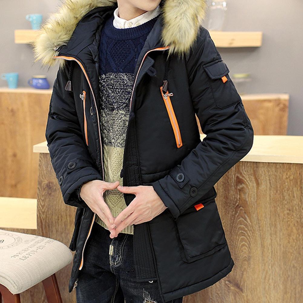 Chaqueta de invierno con capucha y manga larga para hombre, abrigo cálido...