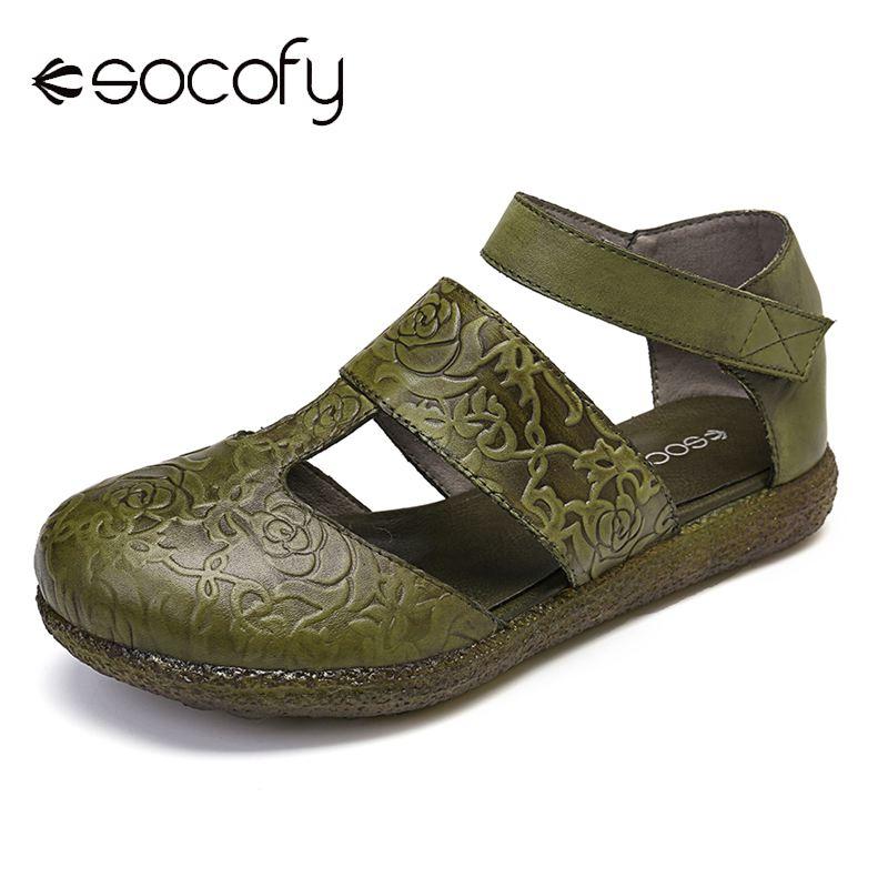 SOCOFY-صندل نسائي من الجلد الطبيعي منقوش ، أحذية أنيقة ، أحذية صيفية ، 2020