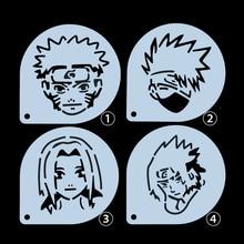 1PCS Stencil Latte Art Barista Tools Cappuccino Mugs Cartoon Naruto Doodle Printing Mold Duster Templates Coffee Accessories