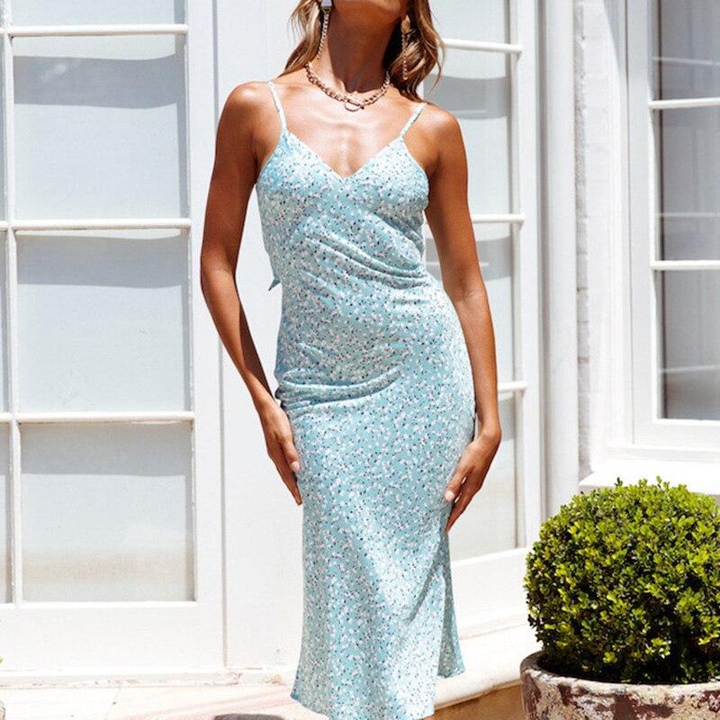 Sexy Print Women Midi Dress Summer Floral Backless Bow Boho Dress Bodycon Female 2020 Ruffles Casual Beach Dress Vestidos
