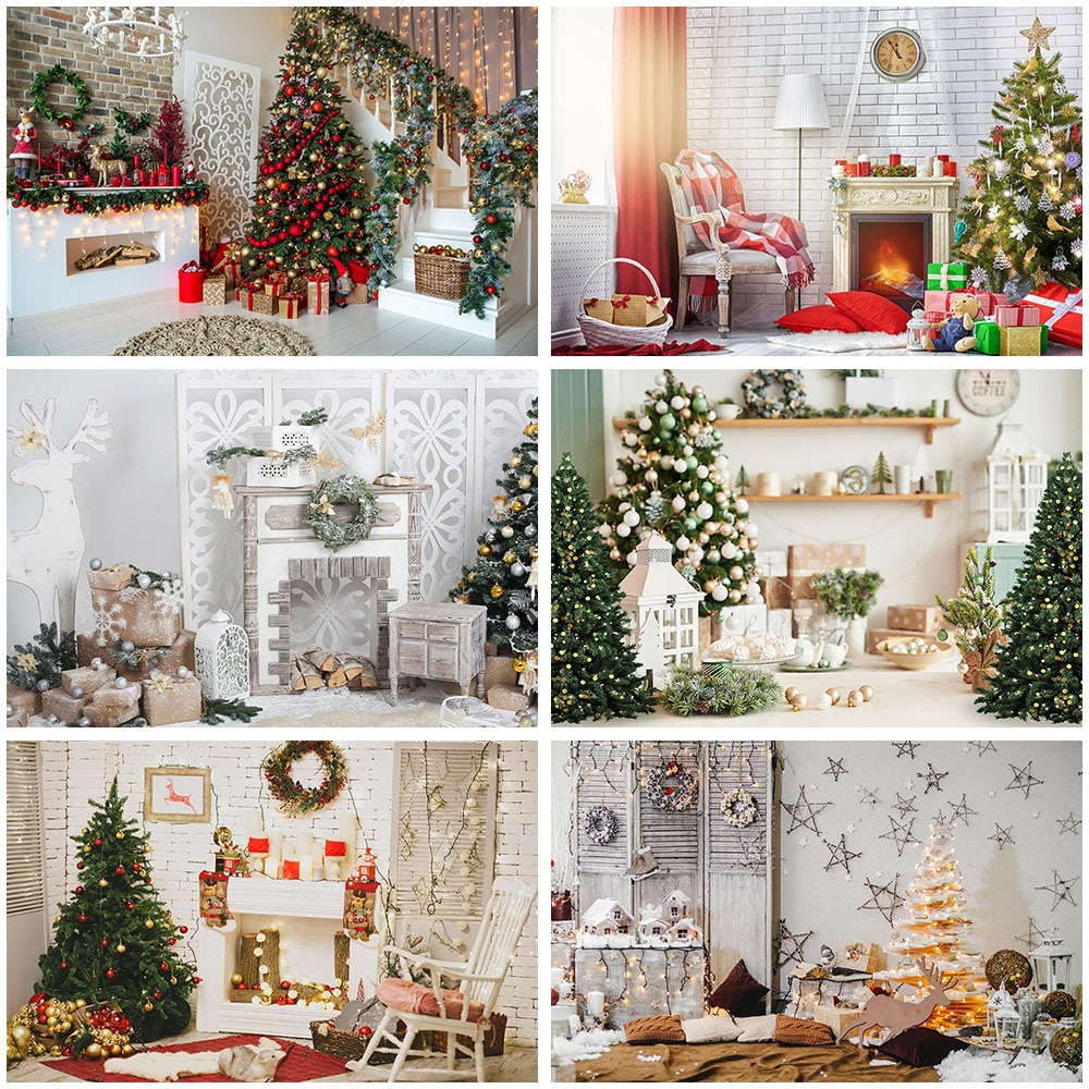 Christmas Tree Stairs Photography Backdrops Wooden Floor Fireplace Photographic Background Photocall Photo Studio Gift Toy Decor