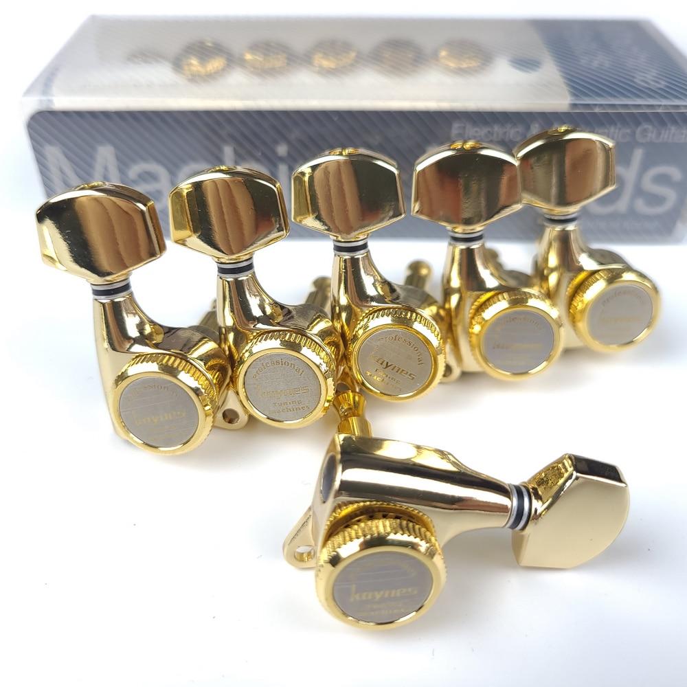 1 مجموعة الغيتار قفل المستقبلون الكهربائية الغيتار آلة رؤساء المستقبلون قفل سلسلة ضبط أوتاد الذهب 【Made في Korea】