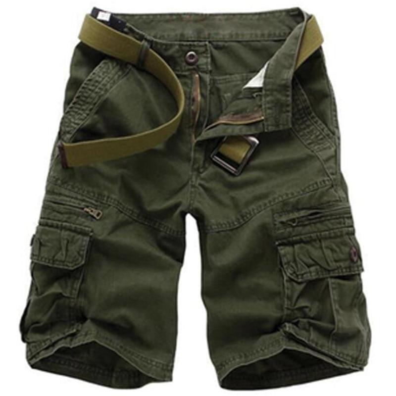 Летние повседневные шорты, мужские камуфляжные свободные брюки, мужские военные тактические шорты-карго, модные хлопковые шорты в зеленом ...