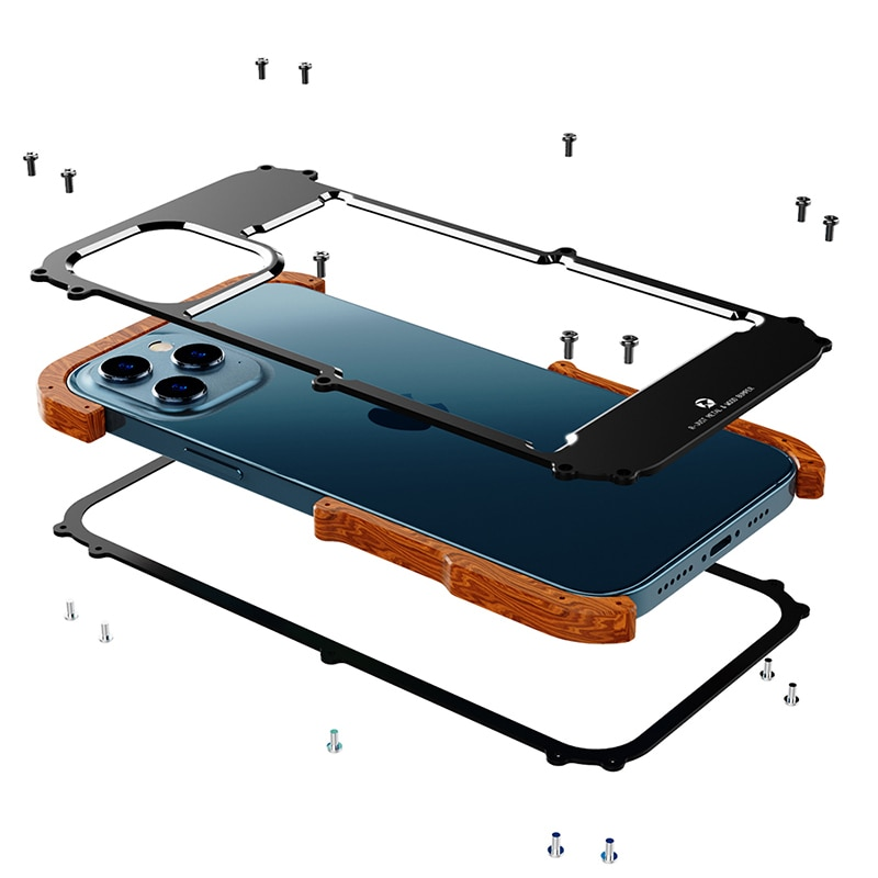 For iPhone 12 Pro Max 12 Mini 11 Pro S 2020 X  6 6s 7 8 Plus XR XS Case Aluminum Bumper Metal & Wood Shockproof Back Phone Case