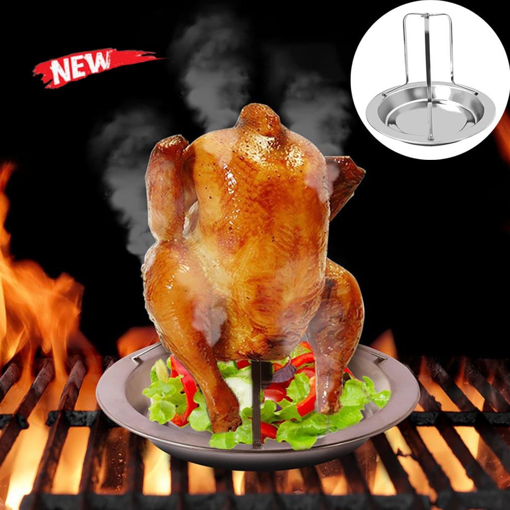 Aço lata de cerveja frango peru torrador forno rotisserie churrasco grill rack suporte bandeja turquia vertical aves torradas rack natal