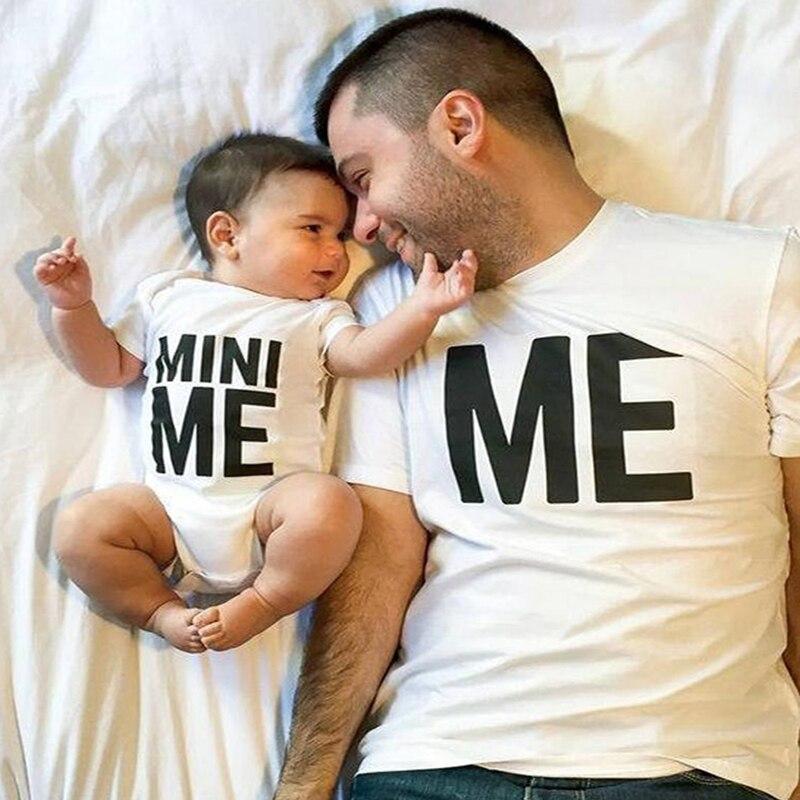 Camiseta para hombres ME & MINI ME, papá y niños, peleles de algodón para bebé, trajes a juego familiares, camiseta de manga corta divertida para niños y niñas