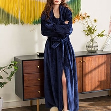 Winter Thick Warm Female Coral Fleece Kimono Robe Women Nightgown Bath Gown Sleepwear Long Housecoat